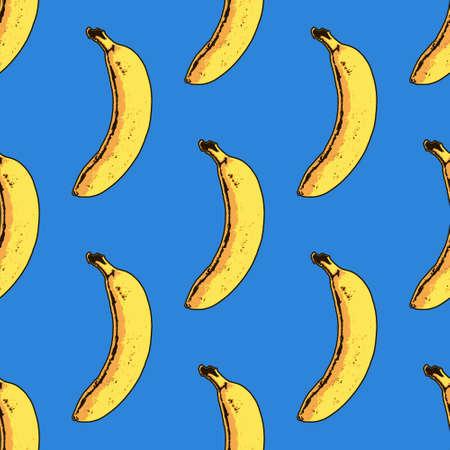 Vector seamless banana pattern. Modern tropical print Vettoriali