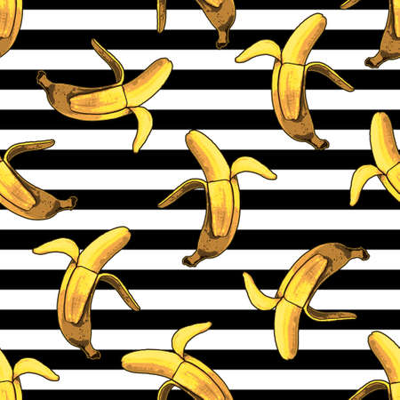 Vector seamless banana and stripes pattern. Modern tropical print
