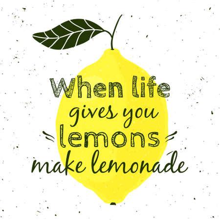 """illustratie met citroen en motievencitaat """"Wanneer het leven u citroenen geeft, maak limonade"""". Typografische poster voor print, t-shirt, wenskaart. Stock Illustratie"""