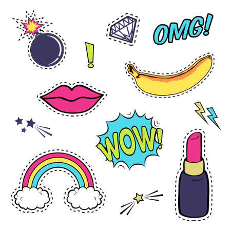 fashion collection: Vector set with cute fashion patch badges: lips, speech bubble, rainbow, stars, diamond, bomb, lipstick, banana isolated on white. Trendy collection of stickers, pins, patches in cartoon comic style Illustration