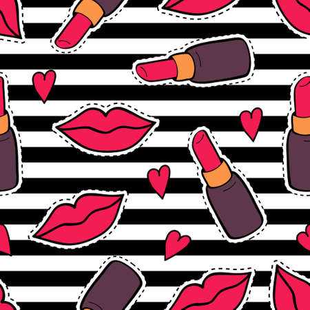 woman art: Vector seamless pattern with fashion patch badges with lips, lipsticks, hearts and stripes. Trendy background with stickers, pins, patches in cartoon 80s-90s comic style.