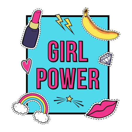 fashion collection: poster Girl Power with cute fashion patch badges: lips, rainbow, star, diamond, lipstick. Trendy collection of stickers, pins, patches in cartoon comic style. Illustration