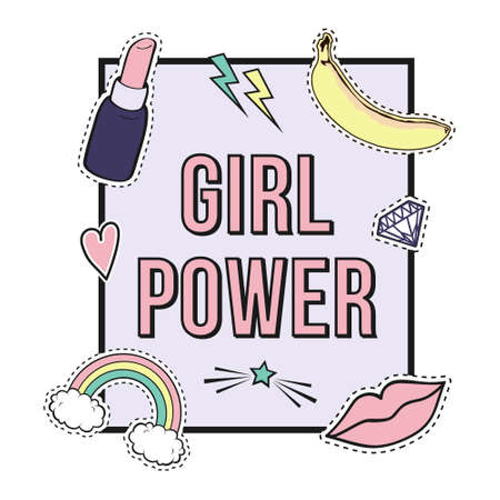 poster Girl Power with cute fashion patch badges: lips, rainbow, star, diamond, lipstick. Trendy collection of stickers, pins, patches in cartoon comic style. Illustration