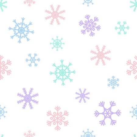 winter colors: Vector Christmas seamless pattern with abstract snowflakes. Winter design. Pastel soft colors