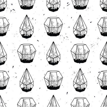 Vector black and white hand drawn seamless pattern with cactuses and succulents in terrariums on grunge texture. Illustration