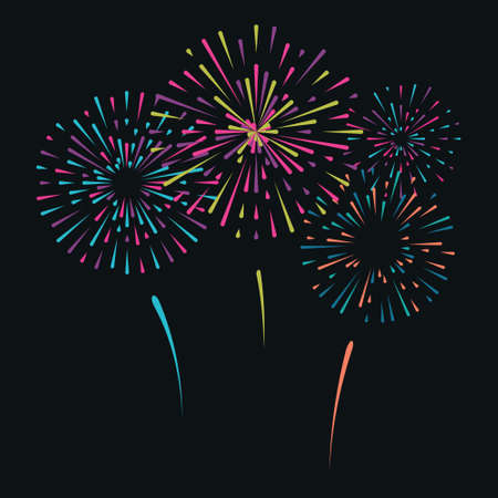 Vector illustration with different colorful fireworks on dark background Illustration