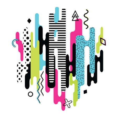 Vector modern dynamic composition made of various rounded shapes in color and geometric elements. Abstract creative pattern.