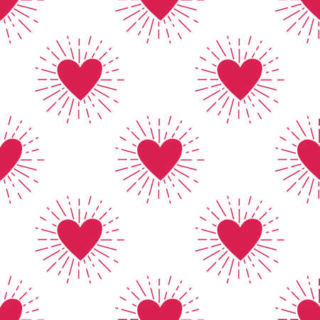 pattern: Vector grunge seamless pattern with heart and sunburst