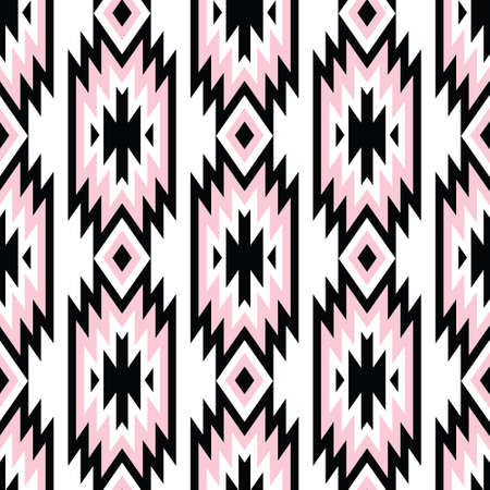 Vector trendy seamless decorative ethnic pattern. Pink and black colors. Boho geometric style.  イラスト・ベクター素材