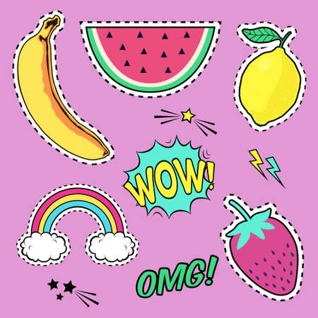 fashion collection: Vector set with cute fashion patch badges: banana, watermelon, lemon, strawberry, speech bubble, rainbow, stars. Trendy summer collection of stickers, pins, patches in cartoon comic style. Illustration