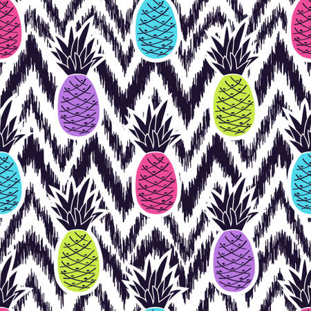 Vector seamless black and white ikat ethnic pattern with colorful pineapples