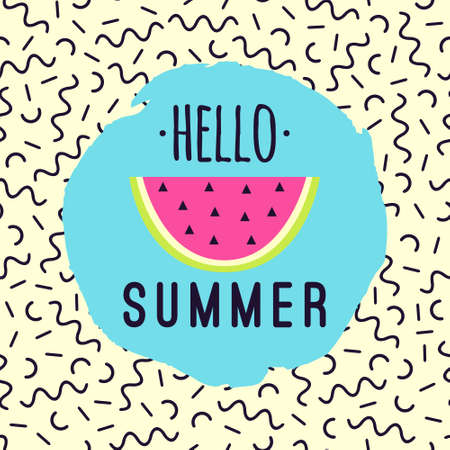 pattern: Vector illustration Hello Summer with watermelon and memphis geometric pattern.
