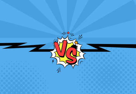 cartoon bomb: Vector illustration of versus letters with speech bubble, bomb explosive in comic pop art style