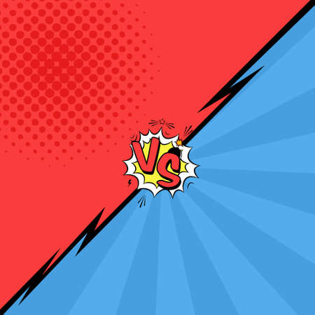 Vector illustration of versus letters with speech bubble, bomb explosive in comic pop art style