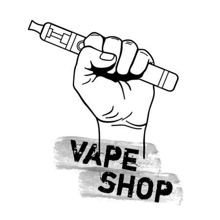 Vector vape shop illustration with hand holding electric tool for vaping. Vapor, electric cigarette, vaporizer e-cig icon.
