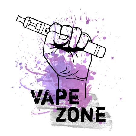 Vector vape zone illustration with watercolor splash and hand holding electric tool for vaping. Vapor, electric cigarette, vaporizer e-cig icon. Ilustração