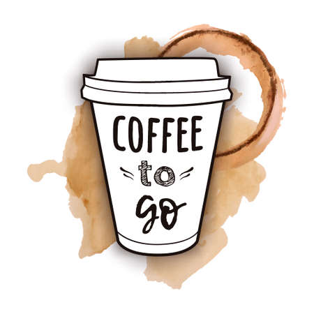 Vector illustration of a take away coffee cup with phrase Coffee to go with watercolor splashes of spilled coffee. Vintage drawing for drink and beverage menu or cafe design. Иллюстрация
