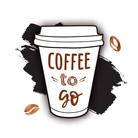 Vector illustration of a take away coffee cup with phrase