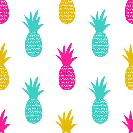 Vector seamless pattern with pineapples. Cute summer fruit background.