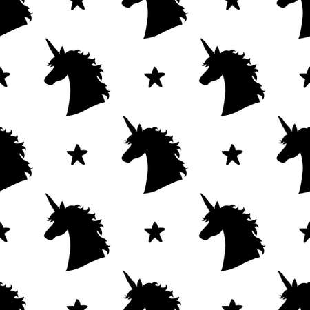 Vector seamless pattern with magical unicorn head silhouettes and stars. Inspirational design for print, banner, poster, fashion.