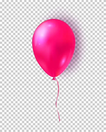Vector glossy pink balloon. Realistic air 3d balloon isolated on transparent background.