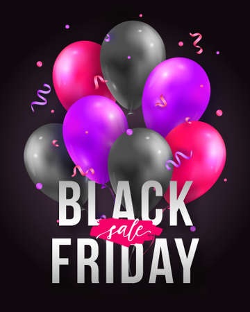 Vector Black Friday sale poster with shiny balloons, ribbons and confetti. Template for advertising posters, banners, flyers, leaflets, cards.