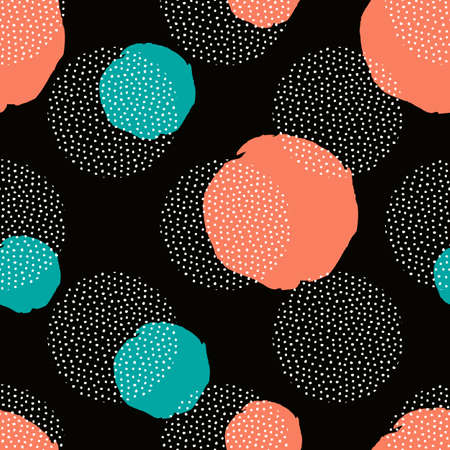 Vector seamless pattern with round dotted elements and golden circles. Trendy memphis background.