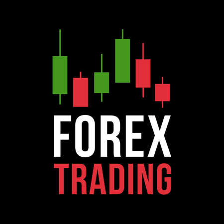 Vector logo with candlestick trading chart analyzing in forex Illustration