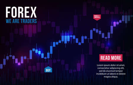 Vector background with stock market candlesticks chart. Forex trading creative design. Candlestick graph illustration for trade analytics Ilustracje wektorowe