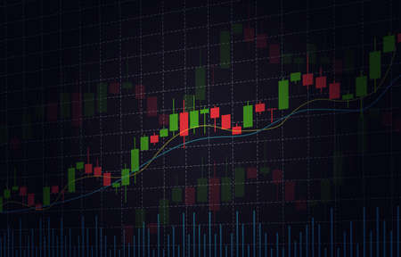 Vector background with stock market candlesticks chart. Forex trading creative design. Candlestick graph illustration for trade analytics Vecteurs