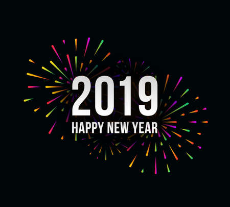 Vector Happy New 2019 Year trendy illustration with festive typographic composition and abstract multicolored fireworks
