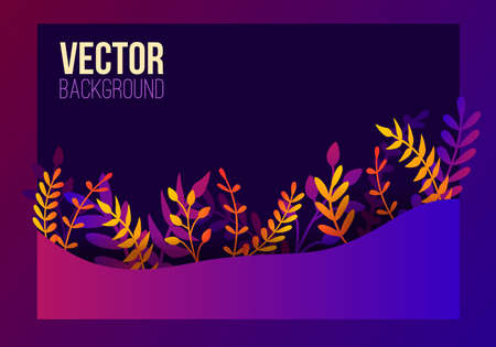 Vector natural horizontal background in trendy flat style with gradient colored exotic plants, leaves and place for text. Modern botanical illustration for banner, greeting card, poster. Ilustração