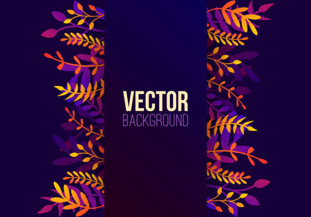 Vector natural background in trendy flat style with gradient colored exotic plants, leaves and place for text. Modern botanical illustration for banner, greeting card, poster.