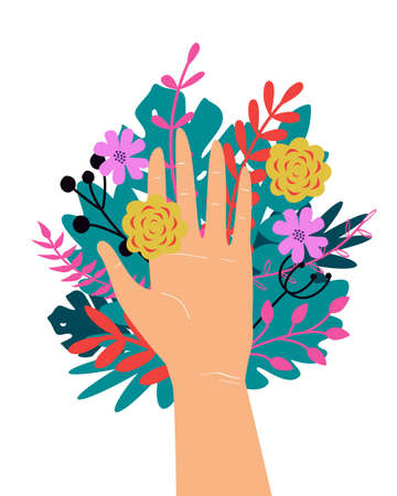 Vector trendy illustration with woman hand isolated with flowers. Cute romantic design for Save the Planet poster, Valentines day, wedding invitation, greeting card Illustration