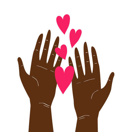 Vector illustration with two afro-american hands holding hearts isolated on white background. Happy Valentine's Day greeting card design, wedding invitation, love theme poster, save the planet or donation concept
