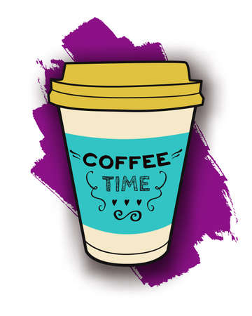 Vector colorful illustration of take-out coffee cup with lettering. Trendy poster for drink and beverage menu or cafe design.