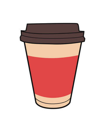 Vector colorful illustration of take-out coffee cup. Vintage icon for drink and beverage menu or cafe design.