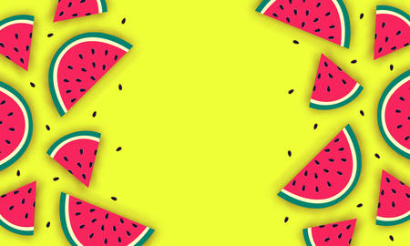 Vector summer background with juicy ripe watermelon slices in paper cut style. Healthy food illustration. Stock Illustratie