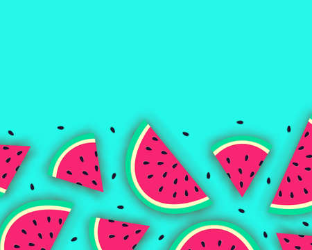 Vector summer background with juicy ripe watermelon slices in paper cut style. Healthy food illustration. Illustration