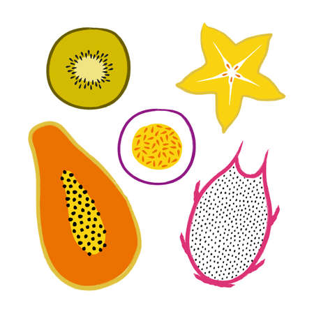 Vector tropical set with exotic sliced ??fruits: papaya, kiwi, pitaya, carambola, passion fruit. Trendy summer design for textile, poster, banner, print