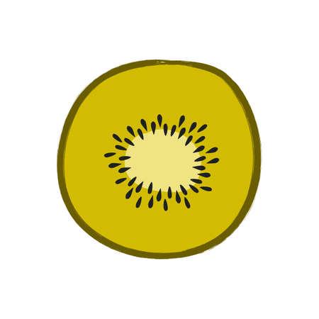 Vector illustration of sliced kiwi isolated on white background