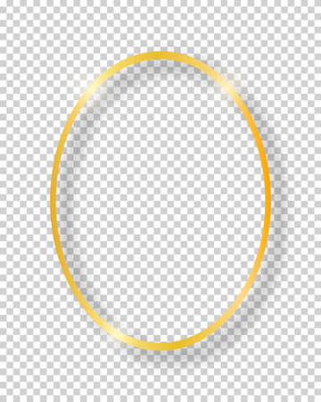 Vector golden shiny vintage round frame isolated on transparent background. Luxury glowing realistic oval border