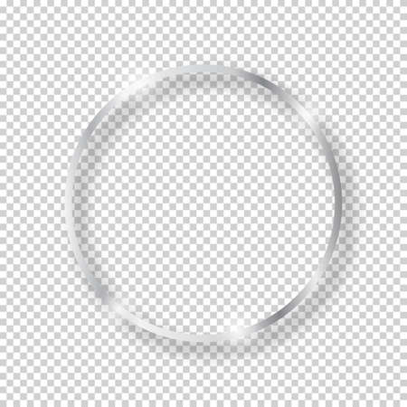 Vector silver shiny vintage round frame isolated on transparent background. Luxury glowing realistic oval border