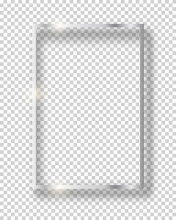 Vector silver shiny vintage square frame isolated on transparent background. Luxury glowing realistic border Vettoriali
