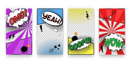 Wektor modny edytowalny zestaw szablonów do historii sieci społecznościowych. Nowoczesny design tła na ulotki, karty, plakaty. Modny komiks w stylu pop-art