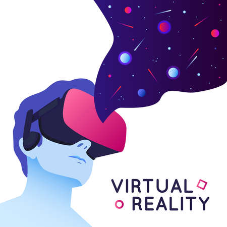 Vector illustration of man wearing virtual reality headset. Abstract VR modern illustration with space elements in flat style