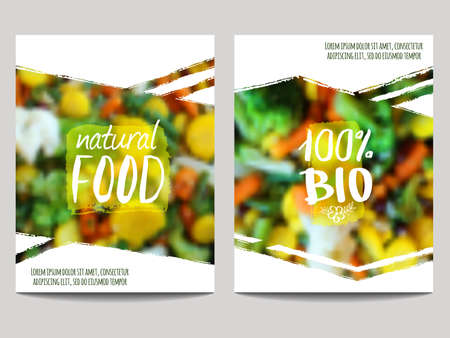 Vector brochure design template with blur background with vegetables and eco labels. Healthy fresh food, vegetarian and eco concept. Can be used for presentation, web, flyer, magazine, cover, poster.