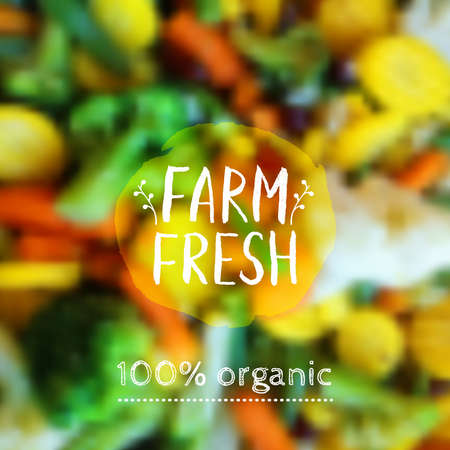 Vector blurred background with vegetables and eco label. Healthy fresh food, vegetarian and eco concept. Can be used for presentation, web, flyer, magazine, cover, poster.