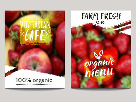 Vector brochure design template with blur background with fruits and eco labels. Healthy fresh food, vegetarian, eco concept. Can be used for presentation, web, flyer, magazine, cover, poster Stock Illustratie