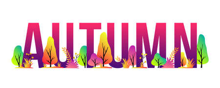 Vector trendy autumn illustration with  letters, trees and plants. Modern seasonal background for banner, poster, card